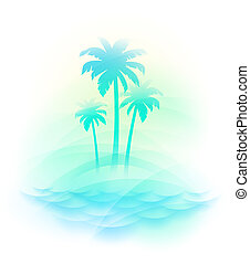 isla tropical, vector, -, ilustración