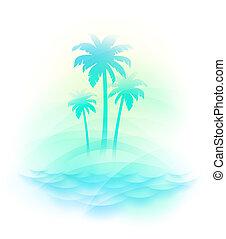 isla tropical, vector, -, ilustración