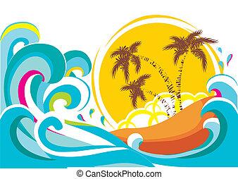 isla tropical, vector, plano de fondo, ondas