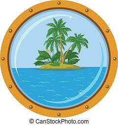 isla, ventana, palma, barco, bronce