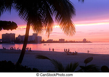 isla, verde, tramonto, portorico