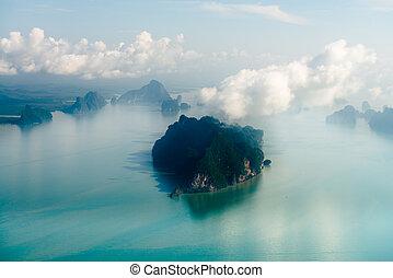 isla, vista, aéreo, tropical