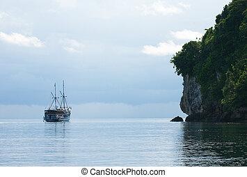 isla, yate, rocoso, navegación, luego