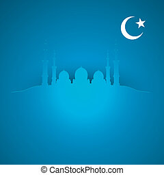 islam background - detailed illustration of a blue religious...
