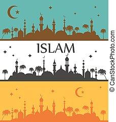 Islam banner. Muslim culture.