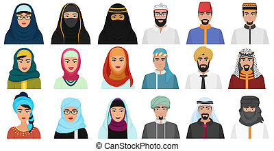 Islam cartoon people icons. Arabic muslim avatars muslim face heads of male and female.