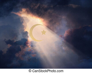 Islam - Cresent and Star revealed in Sky