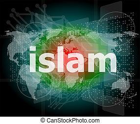 islam, cześć-tech, handlowy, ekran, tło, cyfrowy, dotyk