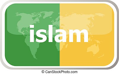islam. Flat web button icon. World map earth icon. Vector illustration