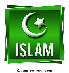 Islam Green Square - A green square image with Islam symbol...
