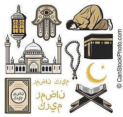 Islam icon with religion and culture symbols - Islam icon of...
