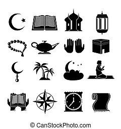 Islamic church muslim spiritual traditional symbols black icons set isolated vector illustration