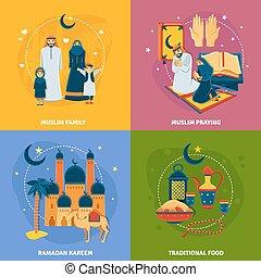 Islam Icons Set - Islam icons set with muslim family Ramadan...