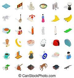 Islam icons set, isometric style