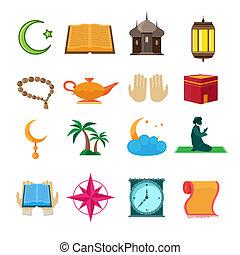 Islam icons set - Islamic church traditional symbols icons...