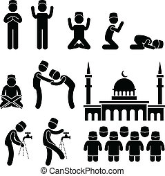 Islam Muslim Religion Culture - A set of people pictogram...