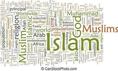 islam, nuvola, parola