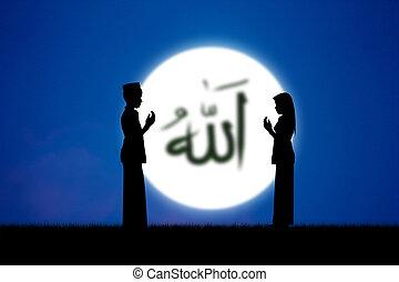 islam - people praying to allah god of Islam on blue sky.The...