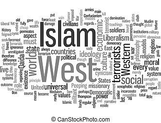 islam, plano de fondo, concepto, wordcloud, choque, texto,...