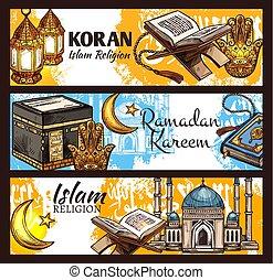 Islam Ramadan lantern, muslim mosque and Koran