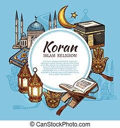 Islam religion mosque, crescent, Koran and lantern