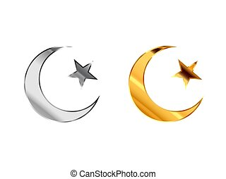 Islam religious signs made from glossy silver and gold metall on white