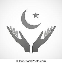 islam, segno, due, offerta, mani