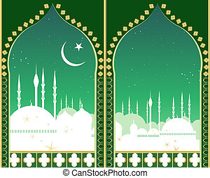 islam skyline - an illustration of an islamic city skyline...