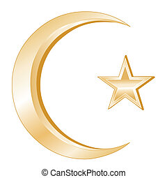Crescent and Star, golden symbols of Islamic faith on a white background.
