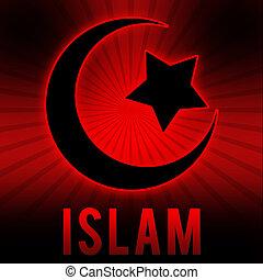 Islam Symbol in Red Black Burst Background
