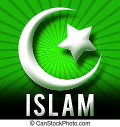 islam, symbole, vert, éclater
