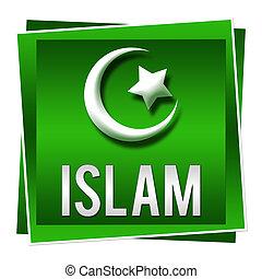 islam, vert, carrée