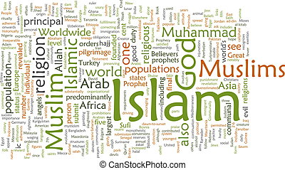 Islam word cloud - Word cloud concept illustration of Muslim...