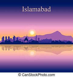 Islamabad city silhouette on sunset background vector...