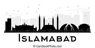 Islamabad City skyline black and white silhouette. Vector...
