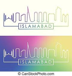 Islamabad city skyline. Colorful linear style. Editable...