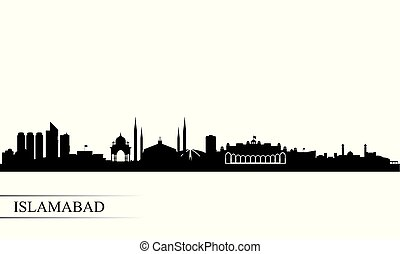 Islamabad city skyline silhouette background, vector...