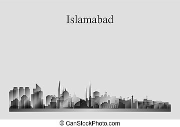 Islamabad city skyline silhouette in grayscale vector...