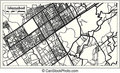 Islamabad Pakistan City Map in Black and White Color. Vector...