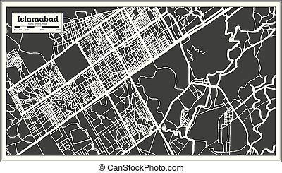 Islamabad Pakistan City Map in Retro Style. Outline Map....