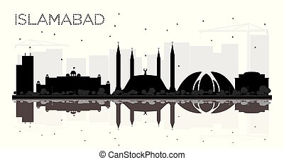 Islamabad Pakistan City skyline black and white silhouette...