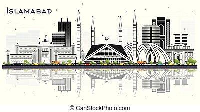 Islamabad Pakistan City Skyline with Gray Buildings Isolated...