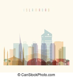 Islamabad skyline detailed silhouette. Transparent style....