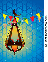 Islamic antique lantern - Vector illustration of islamic...
