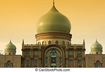 Islamic architecture landscape in sunset