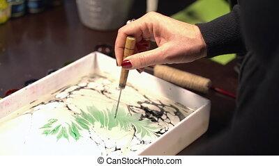 Islamic art - ebru technique, painting on liquid water...