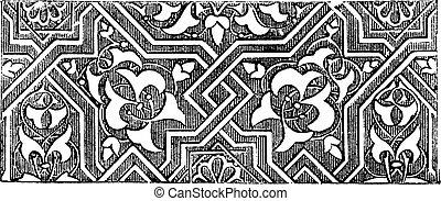 Islamic art or Arabesque pattern artwork. Vintage engraving.