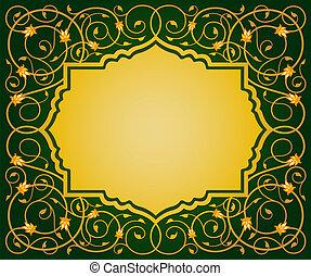 islamic, arte floral, borda