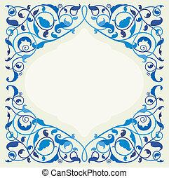 islamic, arte floral, em, monocromático