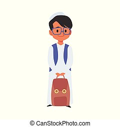 Islamic boy with backpack goes to school flat vector illustration isolated.